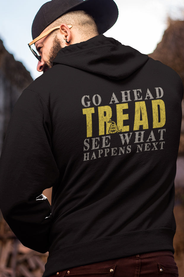 MEN'S ORGANIC COTTON PULLOVER HOODIE - Go Ahead Tread (MADE IN THE USA)