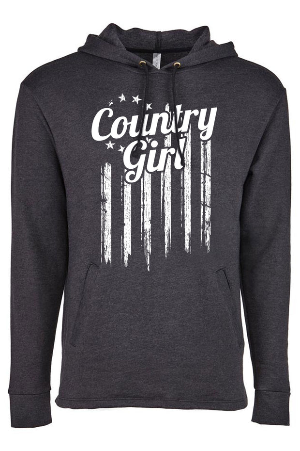 Women's heathered fleece pullover hoody - Country Girl Flag