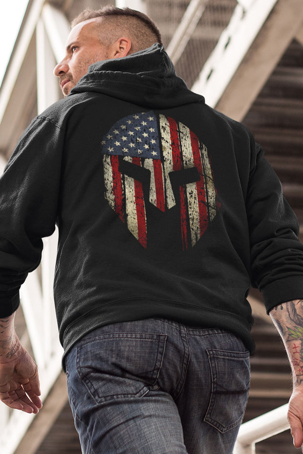 Unisex Organic Hooded Pullover Sweatshirt - Old Glory Spartan (Made in the USA)