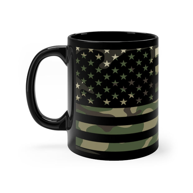 Camo Flag on Black - Mug 11oz
