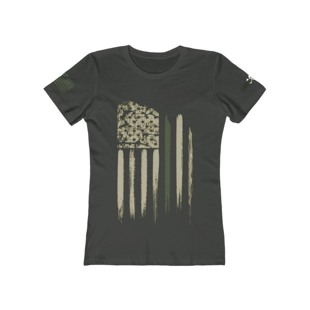Women's Boyfriend Tee - Thin Green Line Flag