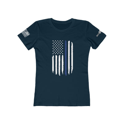 Women's Boyfriend Tee - Thin Blue Line Flag