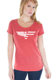 Women's eco Triblend Scoop Neck - Eagle Flag (Made In The USA)