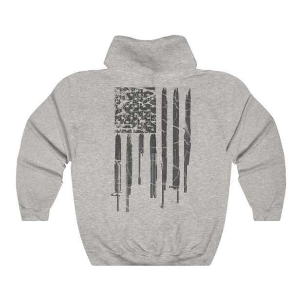 Men's & Women's Hoodie - Grunge Rifle Flag