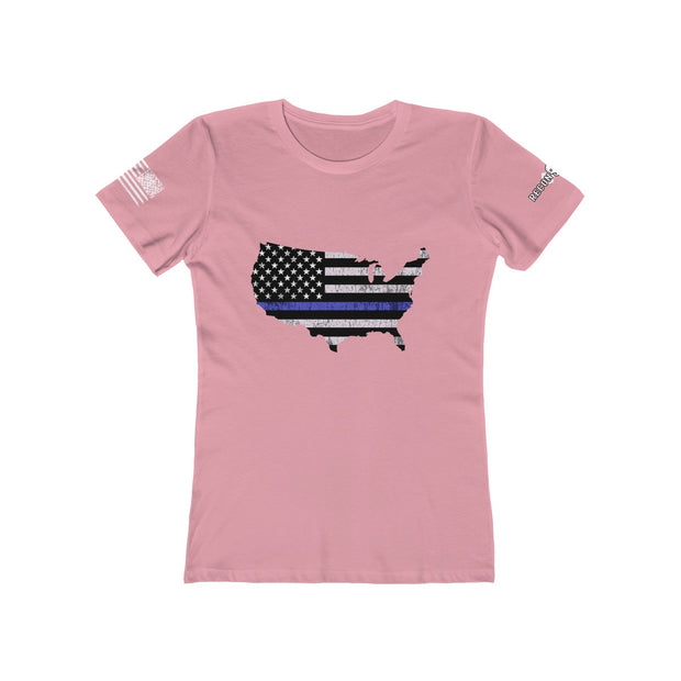 Women's Boyfriend Tee - Thin Blue LIne USA