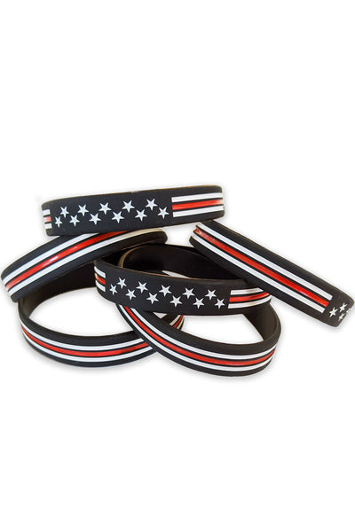 Thin Red Line Flag Wristbands (Made in the USA)