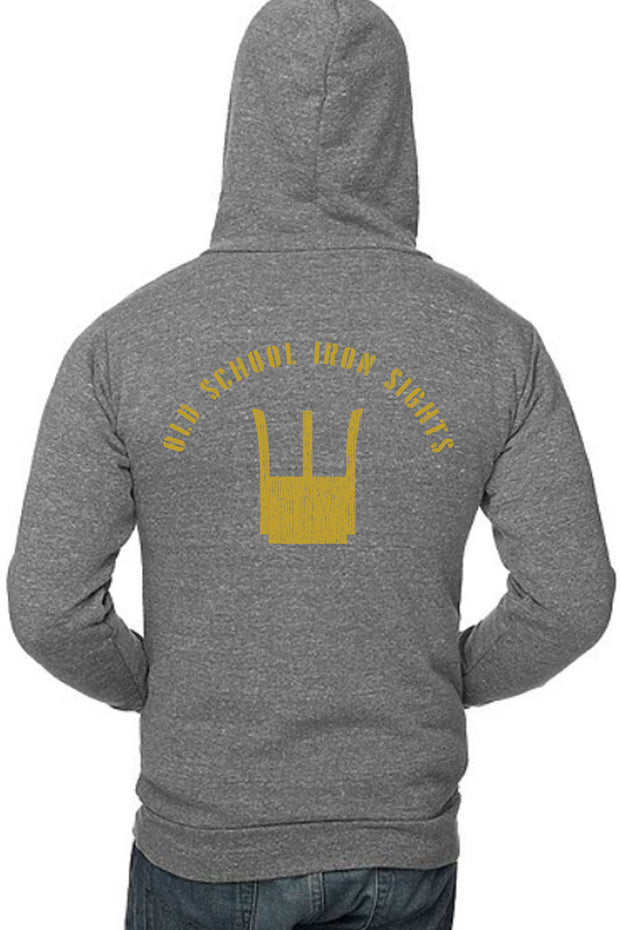 UNISEX TRIBLEND FLEECE PULLOVER HOODIE Old School Iron Sights (Made in the USA)