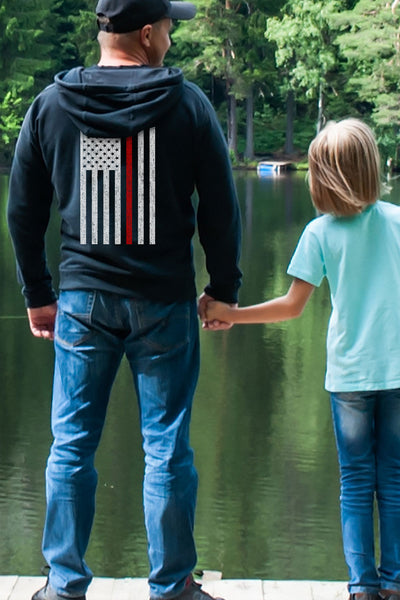 Men's Pullover Hoodie - Thin Red Line Flag (Made in the USA)
