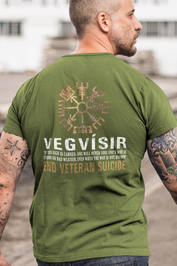 Men's T-Shirt - The Vegvisir - End Veteran Suicide (Made in the U.S.A.)