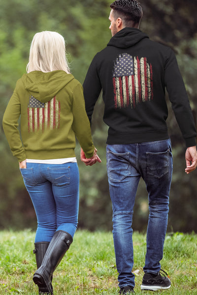 Unisex Organic Hooded Pullover Sweatshirt - Old Glory (Made in the USA)