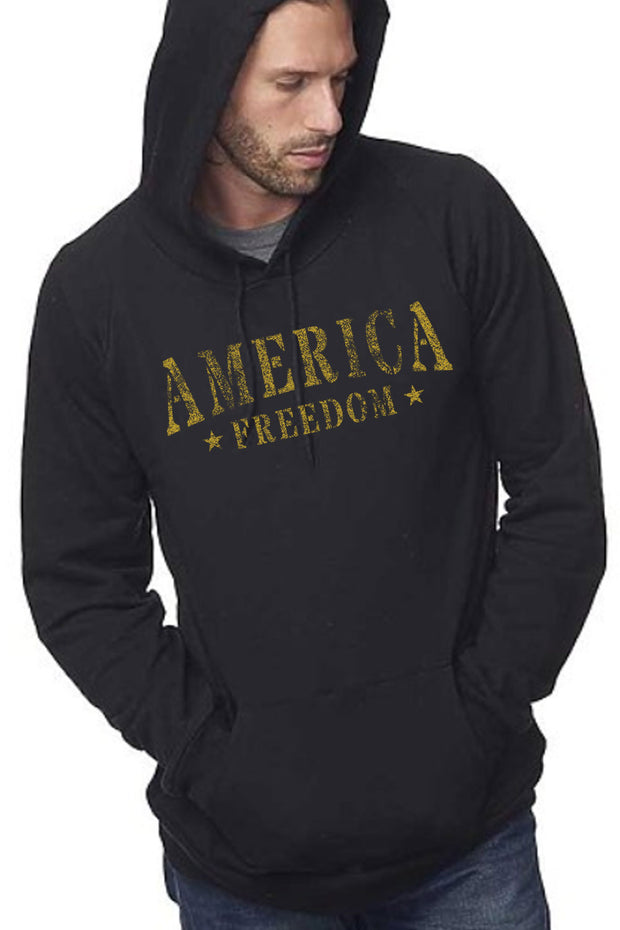 Men's Organic Pullover Hoodie - America Freedom (Made in the USA)