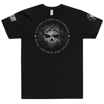 Men's T-Shirt - God Will Judge Our Enemies We'll Arrange The Meeting (USA Made)
