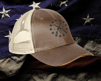 The ReconJacks 1776 Embroidered Ollie Cap - Wax Brown (Made In The USA)