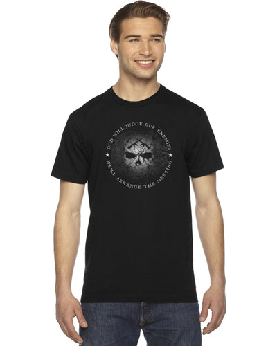 Men's T-Shirt - God Will Judge Our Enemies We'll Arrange The Meeting (USA) AA
