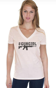 WOMEN'S HEMP ORGANIC COTTON V-NECK - #GunGirl (Made in the USA)