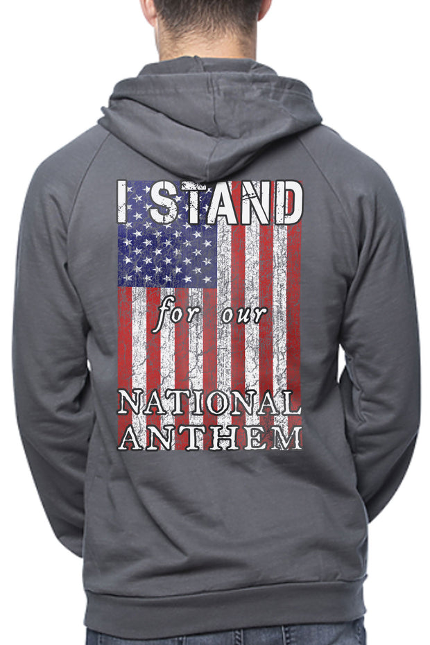 Men's Organic Pullover Hoodie - I STAND FOR OUR NATIONAL ANTHEM (Made In The USA)