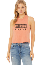 WOMEN'S RACERBACK CROPPED TANK - PATRIOT
