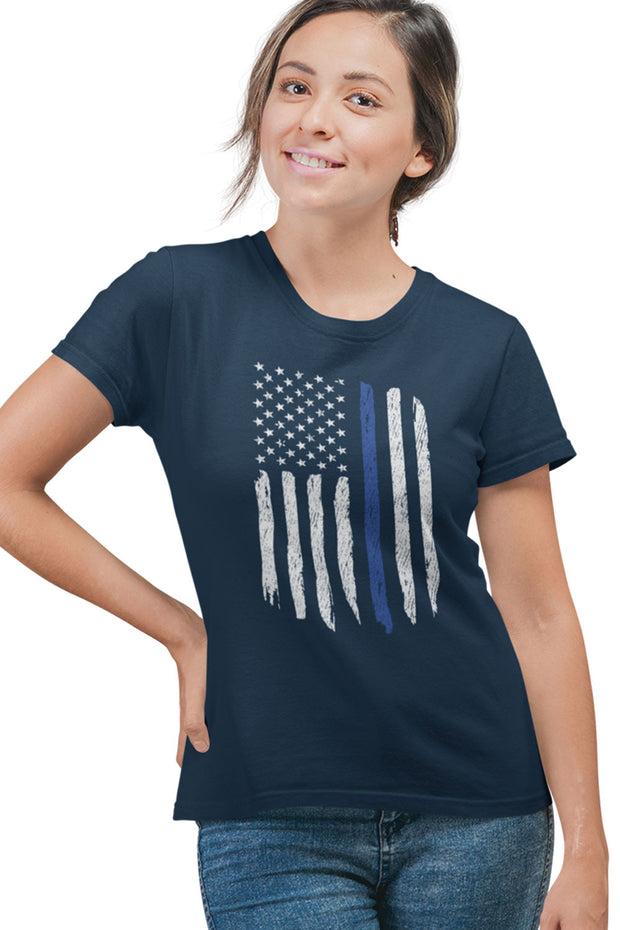 WOMEN'S SHORT SLEEVE TEE - Thin Blue Line Flag (Made in the USA)