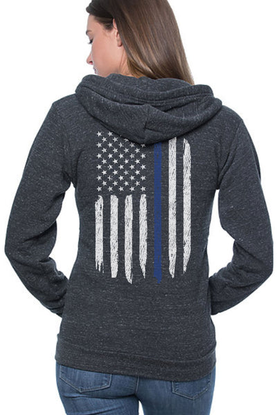 Unisex Full Zipper Hoodie - Thin Blue Line Flag (Made in the USA)