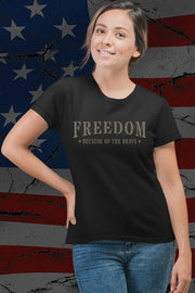 Ladies' Triblend T-Shirt - Freedom Because Of The Brave - Basic