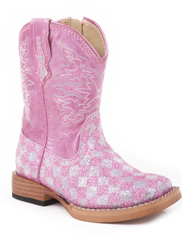 "Roper Toddler's ""Glitter Check"" Western Boot"