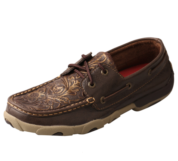 Boat Shoe Driving Moc - Brown & Embossed Flower