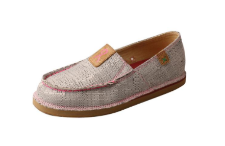 TWISTED x Women's Slip on Loafer Light Grey & Pink