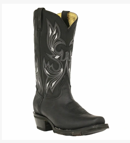 "Rockin Leather Men's ""Black Oiled Narrow Square Toe"" Western Boot"