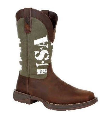 DURANGO MEN'S REBEL ARMY GREEN USA PRINT WESTERN BOOT