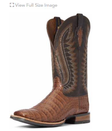 Ariat Men's Double Down Caiman Belly CRML/CVR BLK, Brown Available in April