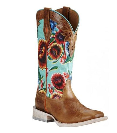Ariat Women's Circuit Champion Floral Brown & Turquoise Boots