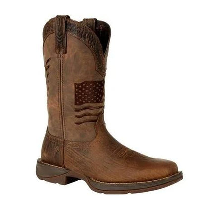 DURANGO MEN'S REBEL BROWN DISTRESSED FLAG EMBROIDERY WESTERN BOOT