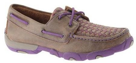Twisted X Women's Purple Basket Weave Slip On Driving Moc