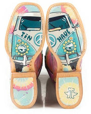 Tin Haul Womens Groovy W/Tie Die Camper Sole Boots