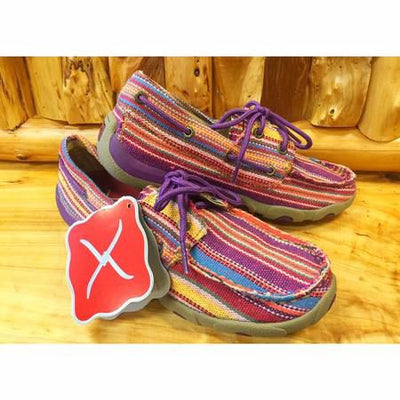 Twisted X Womens Purple Multi Canvas Boat Shoes