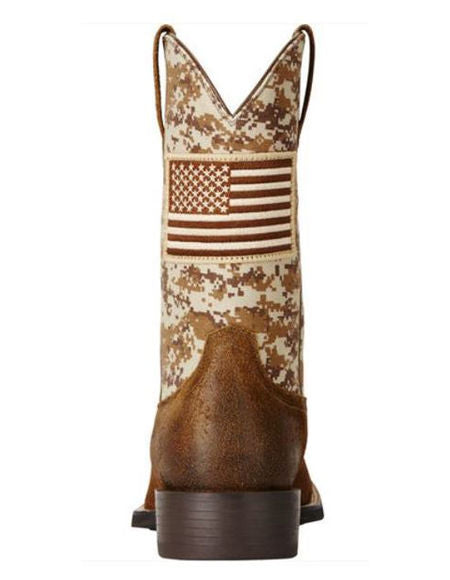 Ariat Men's Brown Camo American Flag Boots - Wide Square Toe