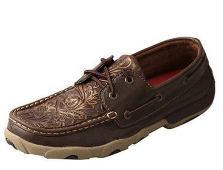 Twisted X Women's Driving Moc Brown Embossed Flower