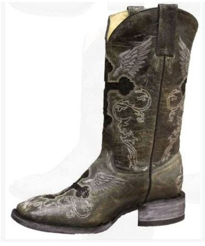 Rockin Leather Women's Grey Crater Square Toe Western Boot