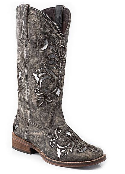 Roper Women's Metallic Floral Cut Out Square Toe Boot