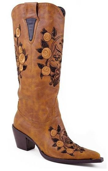 Roper Women's Skull Feaux Leather Western Boot