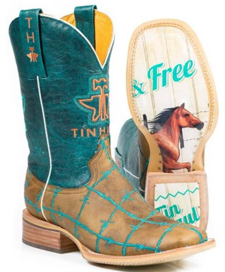 Tin Haul Women's Barbed Wire Wild N Free Western Boots