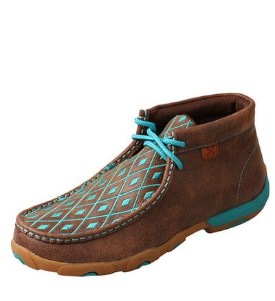 Twisted X	Women's Driving Mocs D Toe - Brown / Turquoise