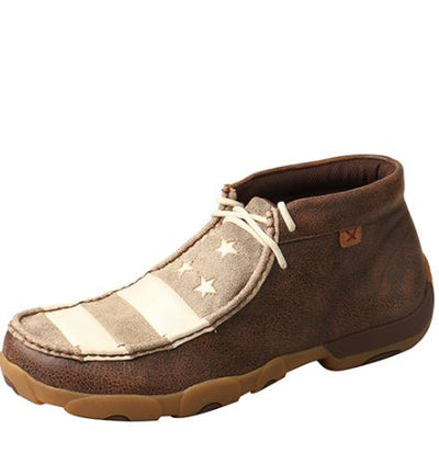 Twisted X Men's Driving Mocs D Toe - Brown / Ivory