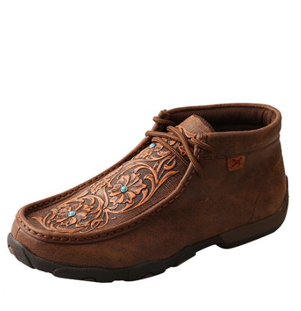 Twisted X Women's Driving Mocs D Toe - Brown / Tooled Flowers
