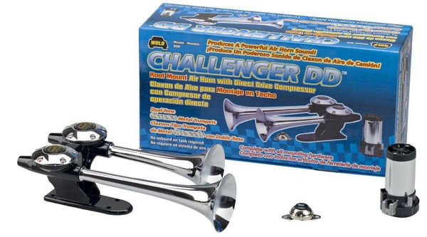 Wolo (808) Challenger DD Chrome Finish Dual Trumpet Horn - 12 Volt, Dual Tone, Roof Mount