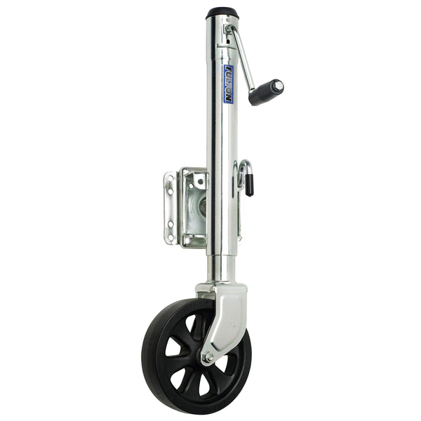 "Fulton XP15 0101 Steel Swing-Away Bolt-On Jack with 10"" Travel and 8"" Poly Wheel - 1500 lb. Weight Capacity"