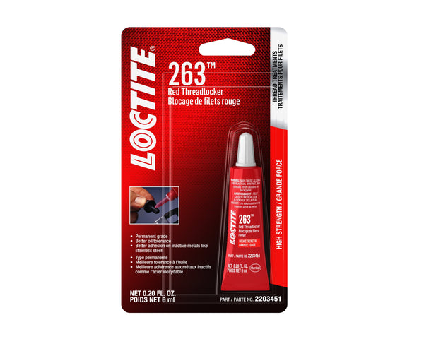Loctite 2203451 1 Pack 263 Threadlocker Surface Insensitive (Red, 6 ml Tube)