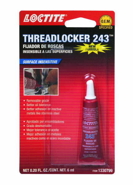 Loctite 1330799 243 Blue Oil Resistant Threadlocker Tube, 6-milliliter