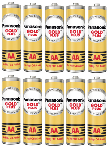 Panasonic AA Gold Plus Battery UM-3NG (Pack of 10) - genuinebattery.com