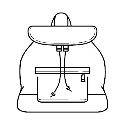 Graphic of a backpack outline